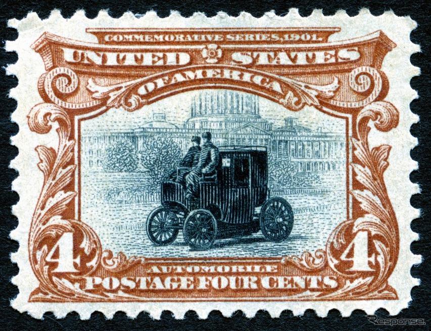 世界初の自動車切手 コロンビア号(1901・米)