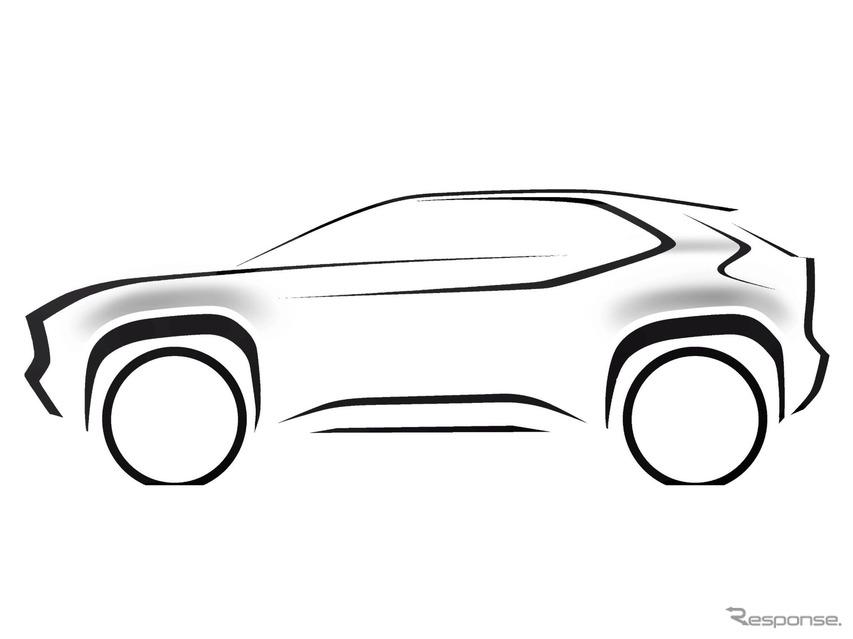 トヨタ ヤリス 新型、コンパクトSUV派生が決定…ティザースケッチ