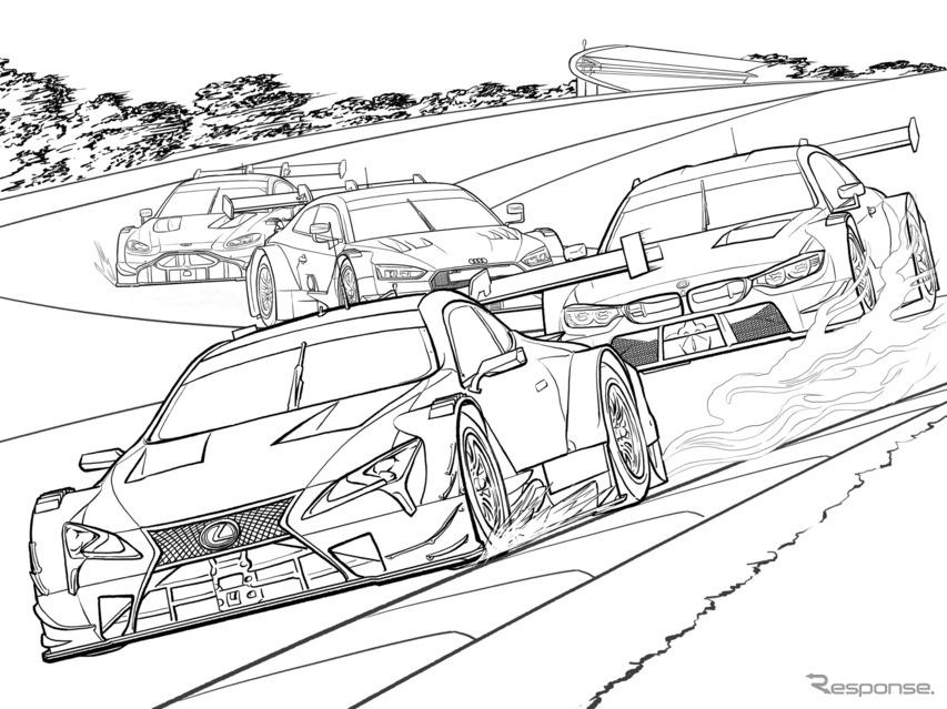レクサスがぬり絵を配信、SUPER GTとDTMの初の交流戦を再現---自宅で過ごすために