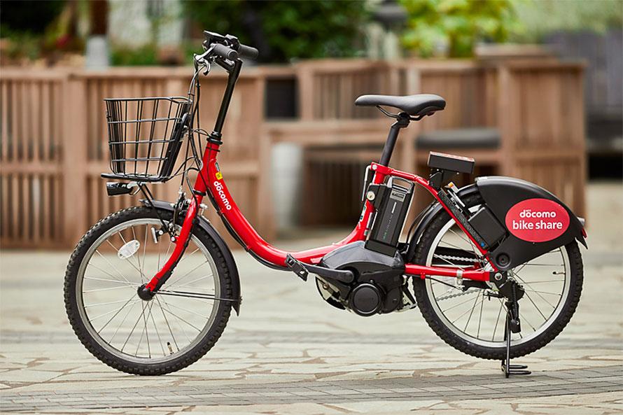 ドコモが千代田区などと行っているバイクシェア用自転車。本体にGPSや通信機器を搭載している