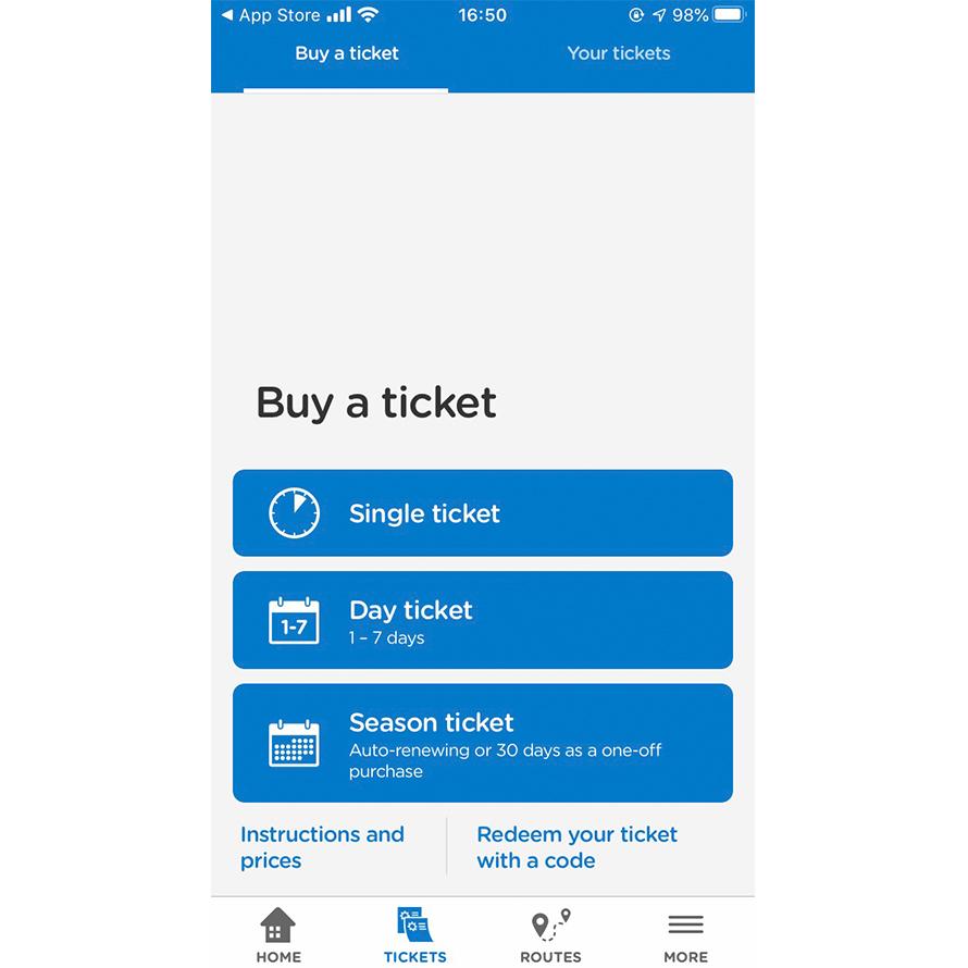 HSLアプリのチケット購入画面