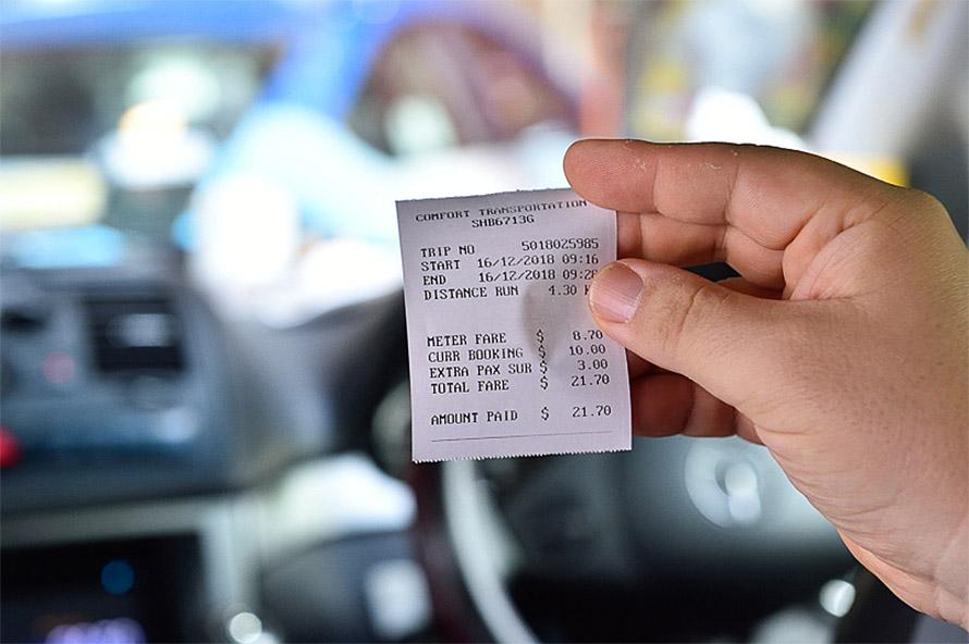領収書、迎車料金として10SGDかかっていることが分かる