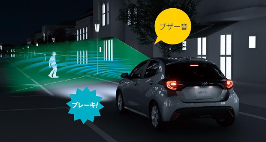 プリクラッシュセーフティ 直進時の車両・歩行検知機能[昼間はもちろん、夜間の歩行者も検知。]