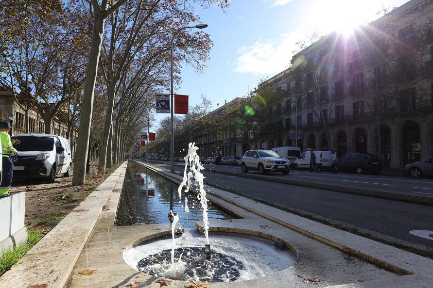 道沿いにある噴水や街路樹・芝生用の散水栓も、センティーロに接続されている