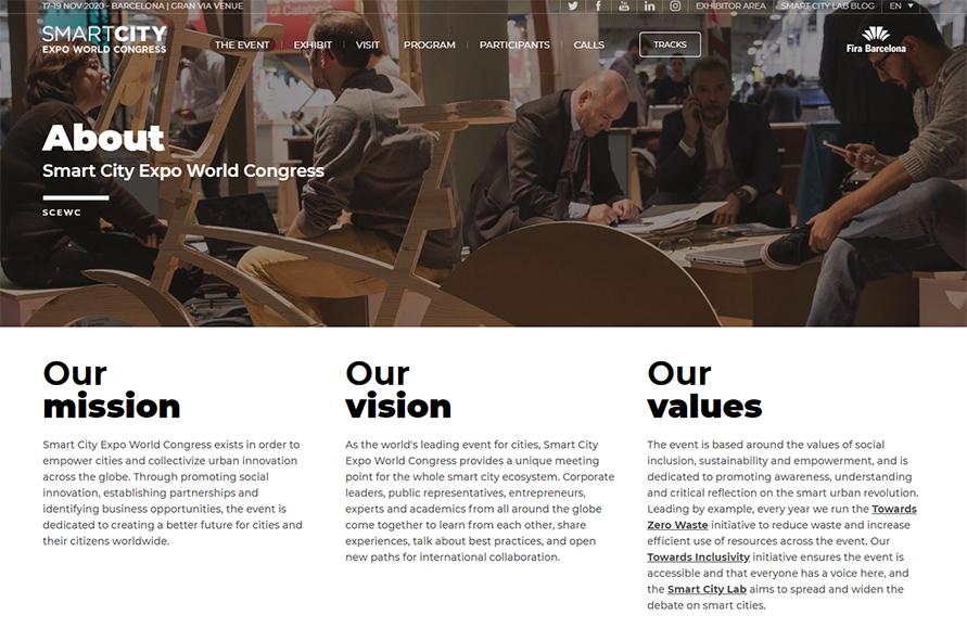 ホームページではスマートシティエキスポの理念などが詳しく解説されているhttp://www.smartcityexpo.com/